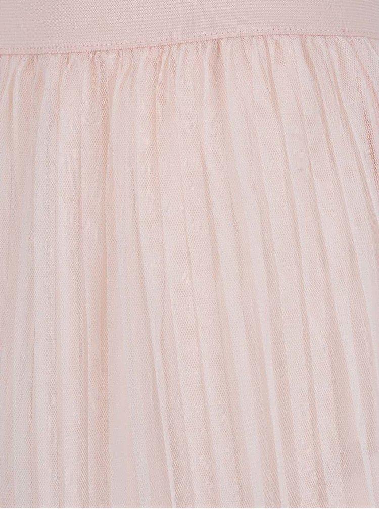 Světle růžová tylová plisovaná midi sukně TALLY WEiJL