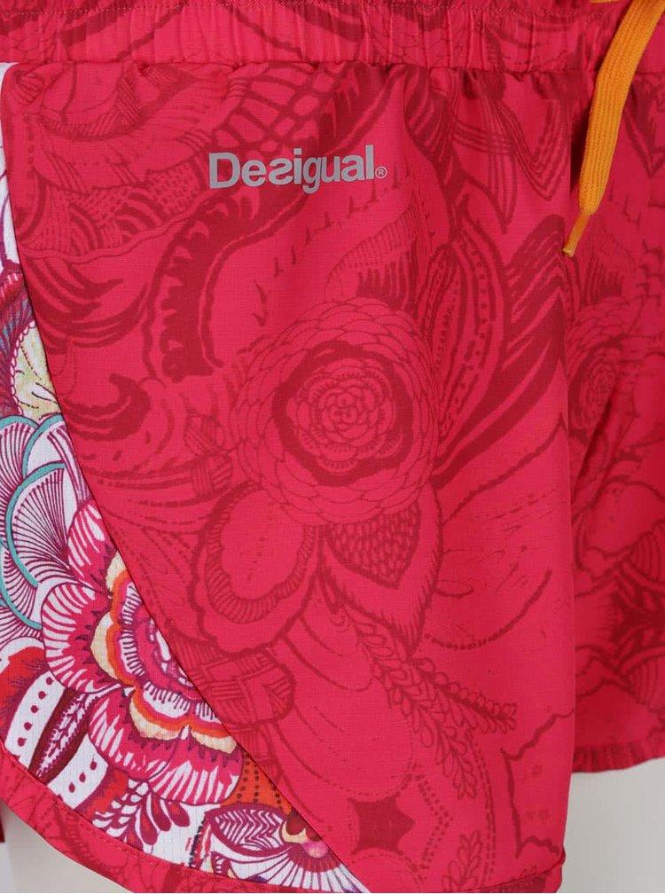 Růžové vzorované sportovní kraťasy Desigual Sport