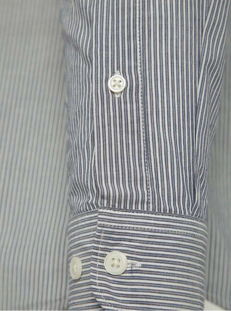 Camasa albastra Selected Homme One Morton din bumbac cu guler tunica si model in dungi