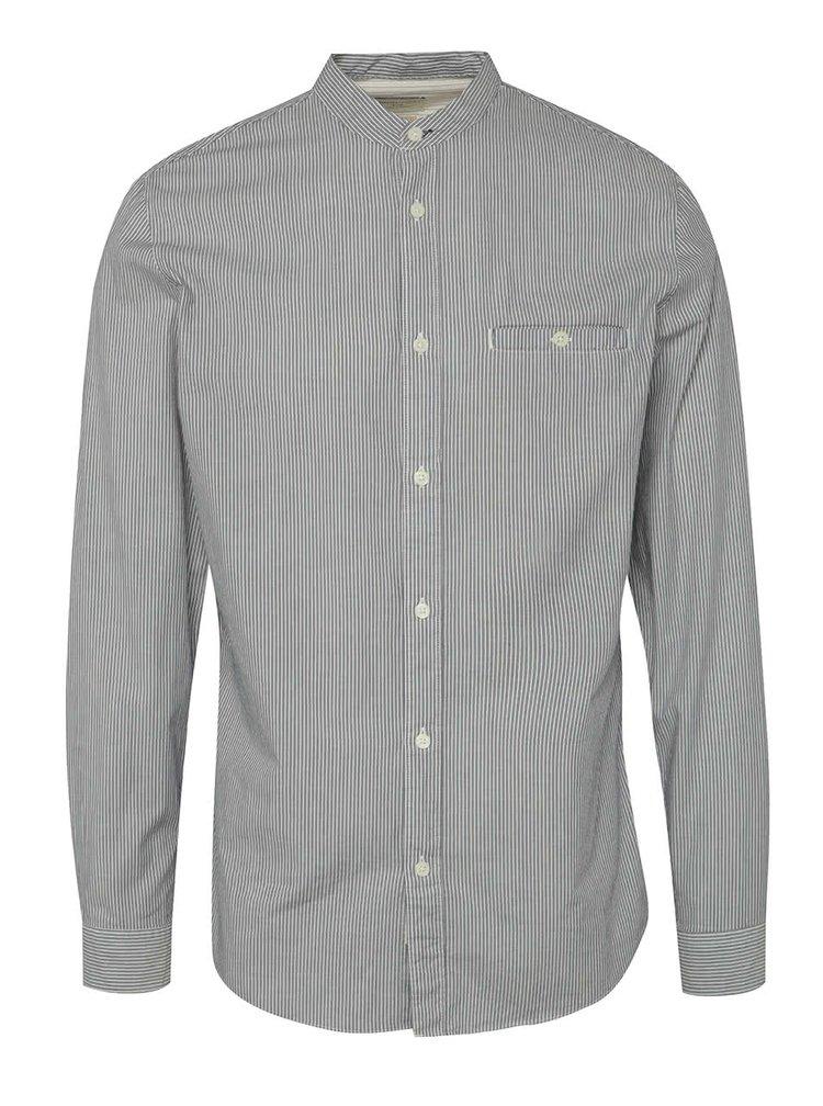 Modrá pruhovaná košile bez límečku Selected Homme One Morton