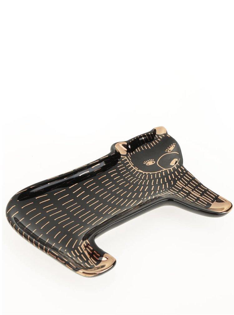 Černá keramická malá miska na šperky ve tvaru medvěda Magpie Wild Tale