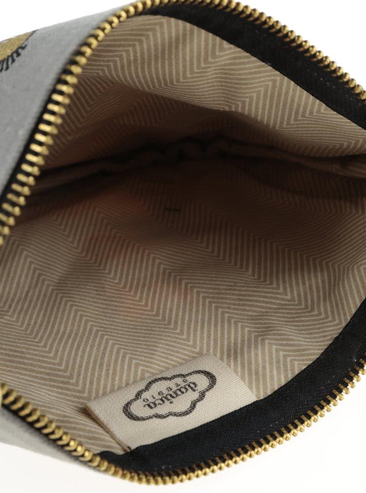 Šedá velká kosmetická taštiška na zip s motivem lišek Magpie Wild Tale