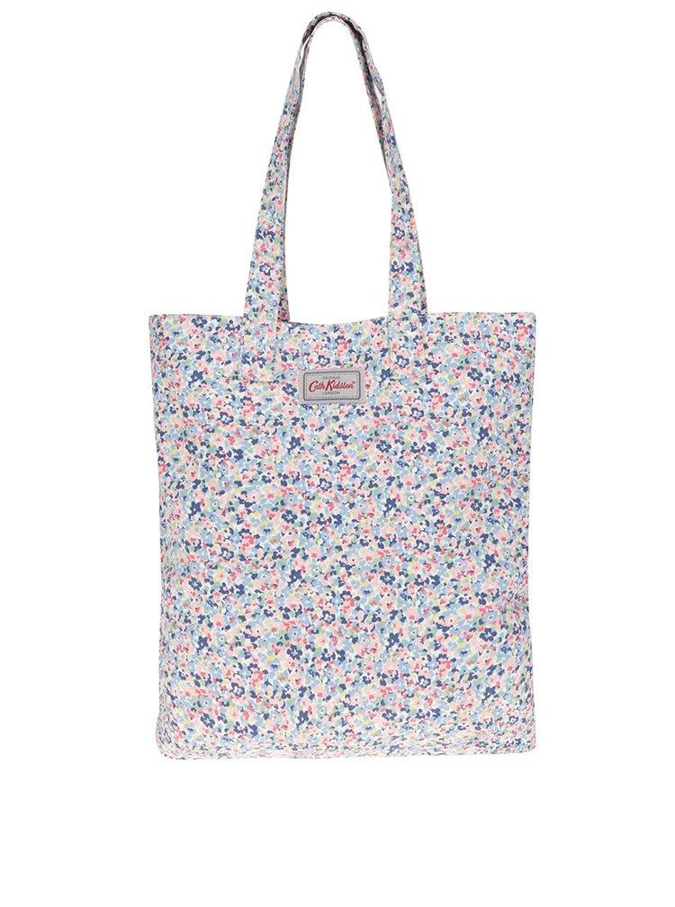 Růžovo-modrá dámská květovaná plátěná taška Cath Kidston