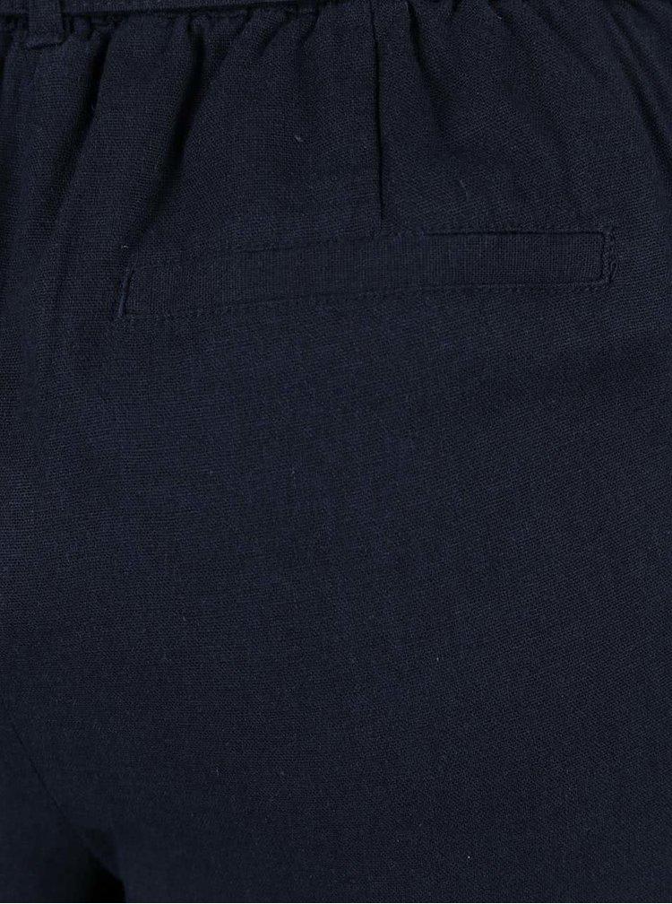 Tmavě modré lněné kalhoty VERO MODA Milo-Citrus