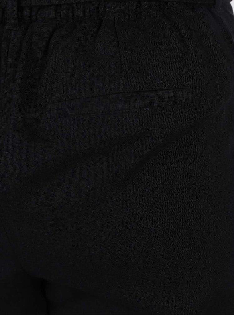 Černé lněné kalhoty VERO MODA Milo-Citrus