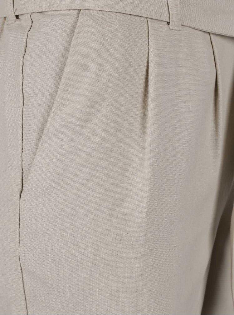 Pantaloni bej VERO MODA Milo-Citrus cu cordon