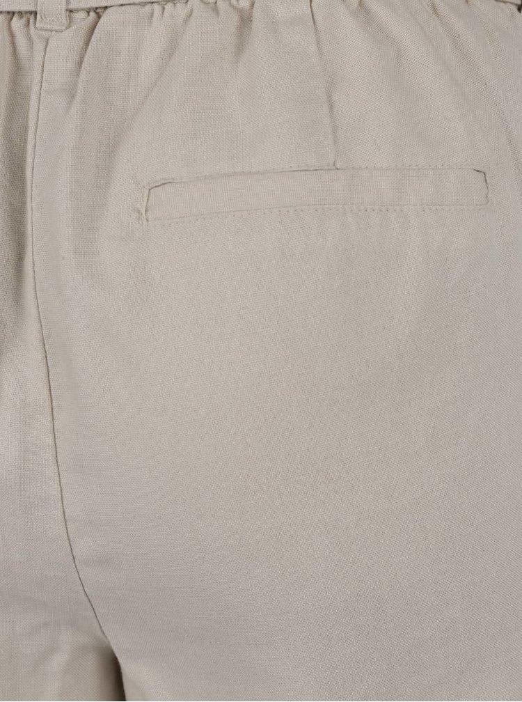 Béžové lněné kalhoty VERO MODA Milo-Citrus