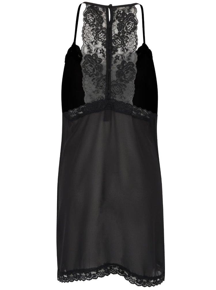 Černá noční košilka s krajkou Y.A.S Chiffon