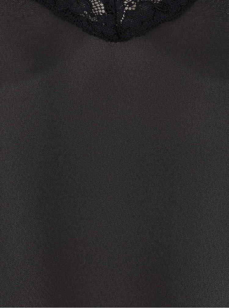 Neglijeu negru Y.A.S cu inserții din dantelă
