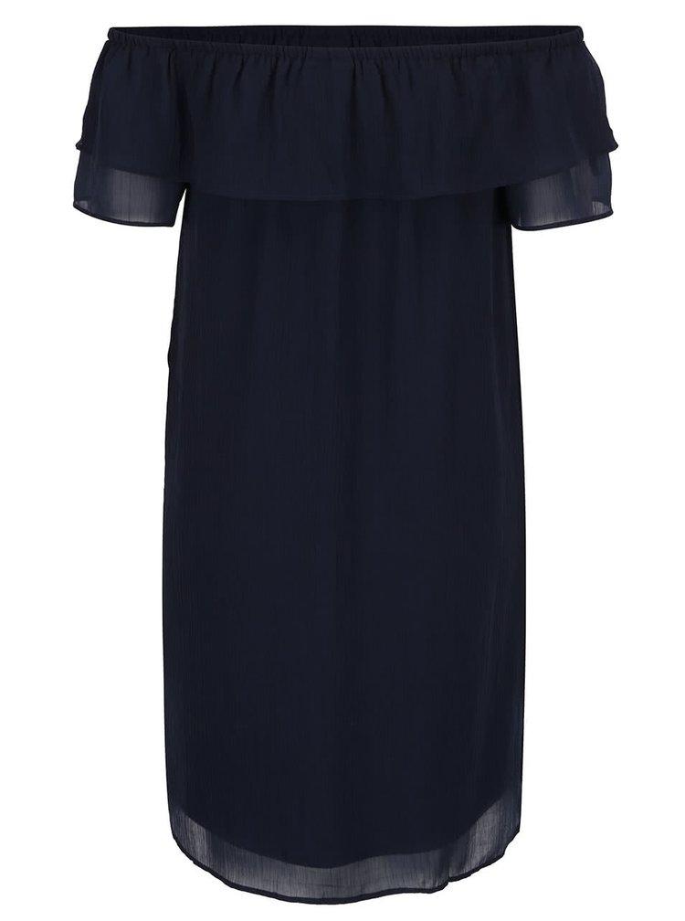 Tmavě modré šaty s odhalenými rameny VERO MODA Trilltan