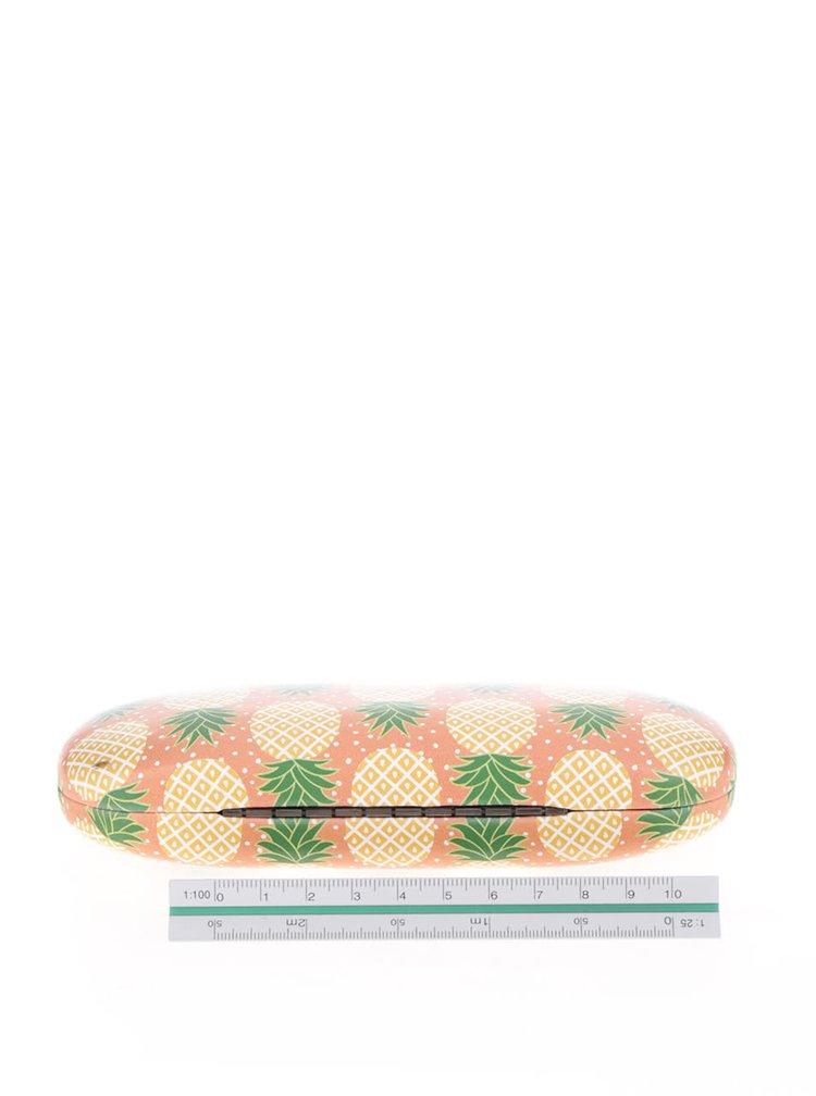 Oranžové pouzdro na brýle s motivem ananasů Sass & Belle