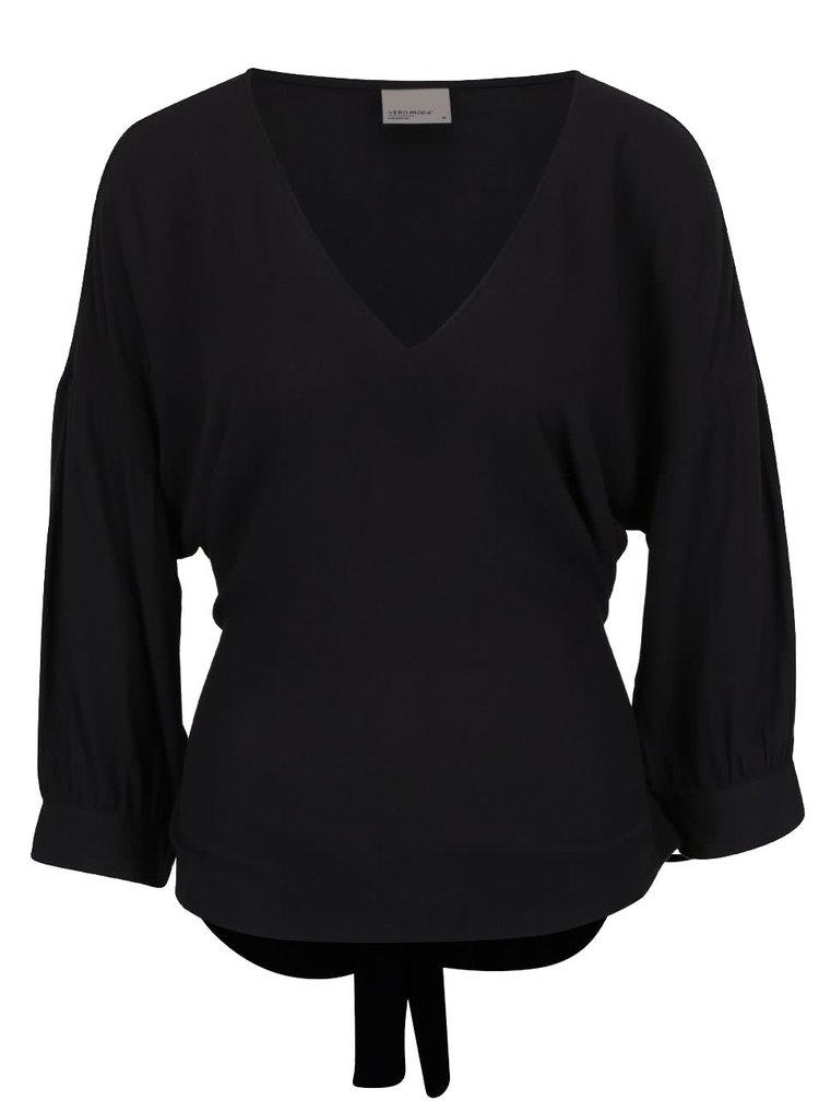 Bluză neagră VERO MODA Michelle cu cordon la spate