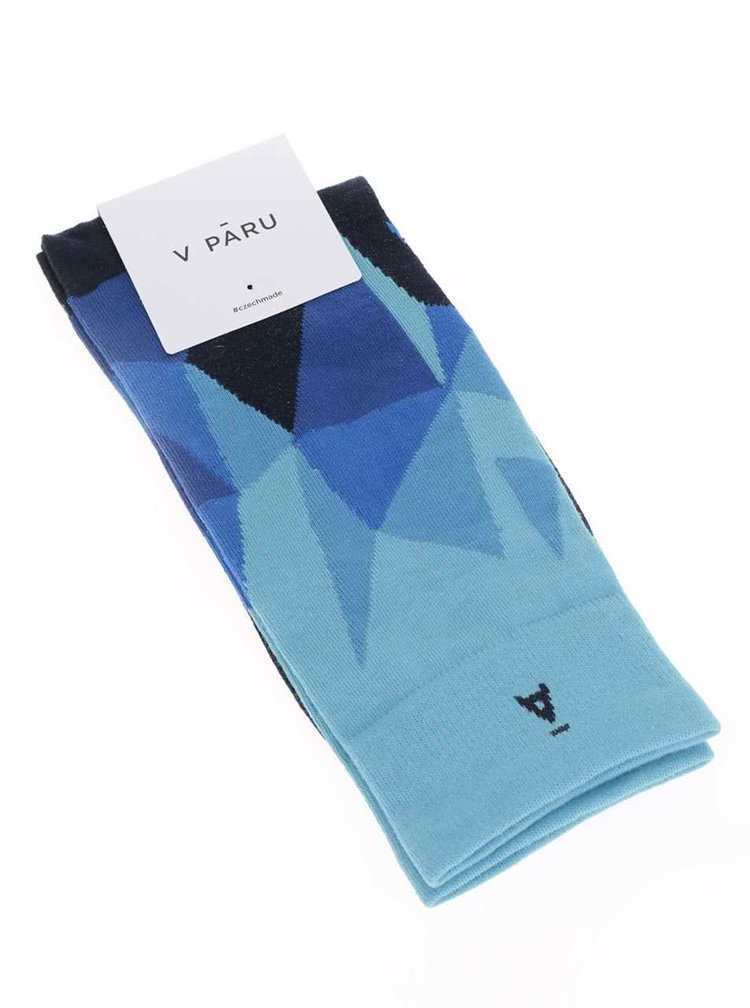 Černo-modré vzorované unisex ponožky V páru