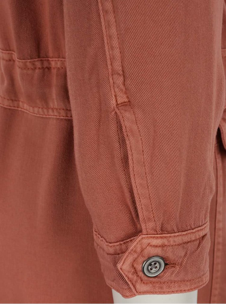 Jacheta caramizie din denim cu buzunare VERO MODA Ambre
