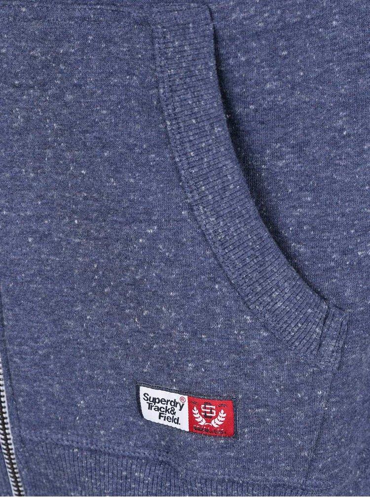 Modrá pánská mikina na zip Superdry