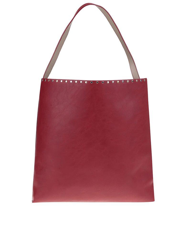 Červeno-béžový oboustranný shopper s pouzdrem 2v1 Nalí