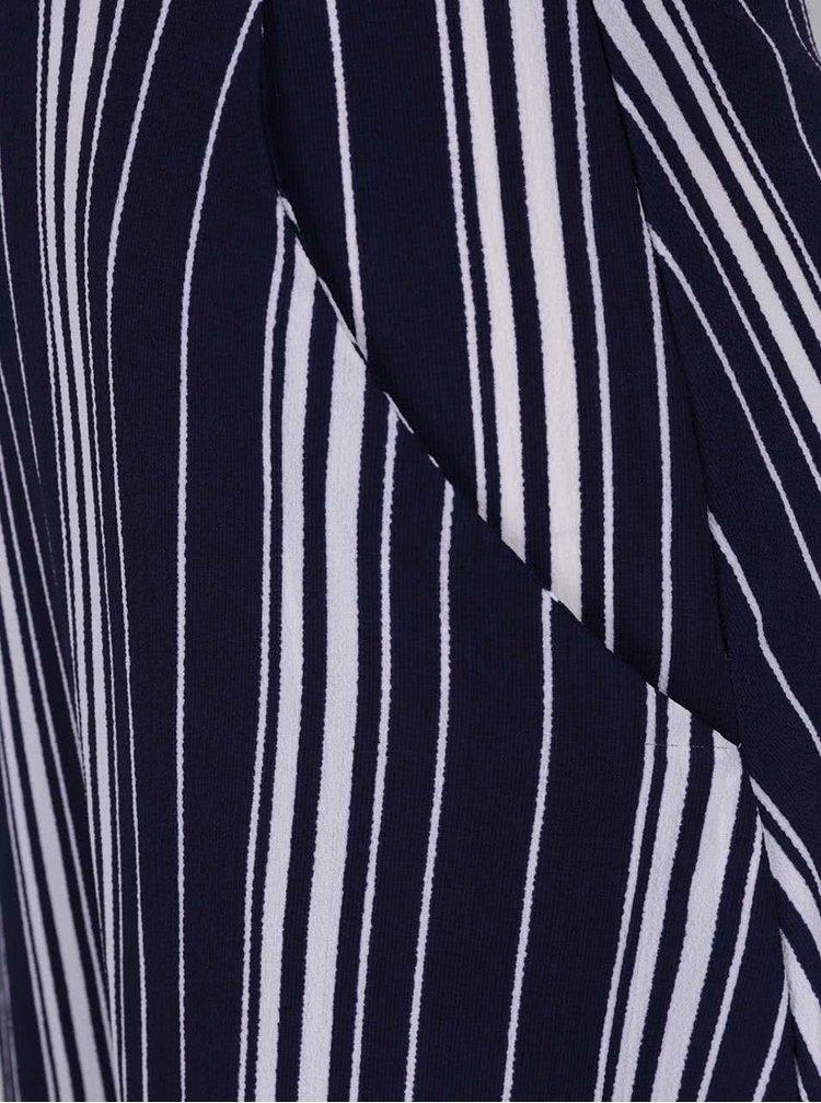 Modro-bílé pruhované košilové šaty s kapsami Mela London
