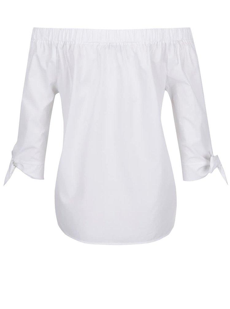 Bluza alba Haily's Rina din bumbac cu umerii goi si maneci trei sferturi