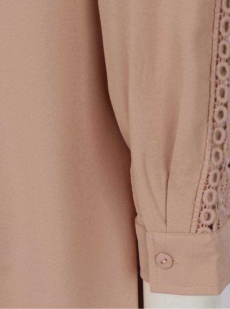 Rochie camasa mini bej Mela London cu detaliu din macrame