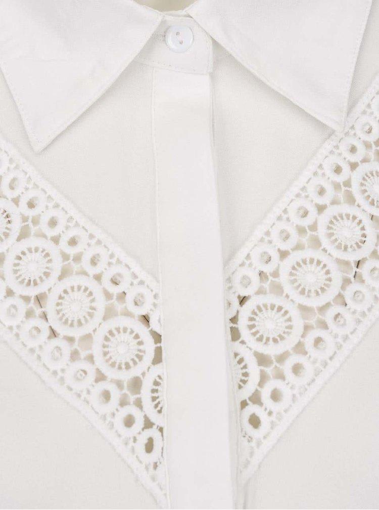 Rochie cămașă mini crem Mela London cu detalii din macrame
