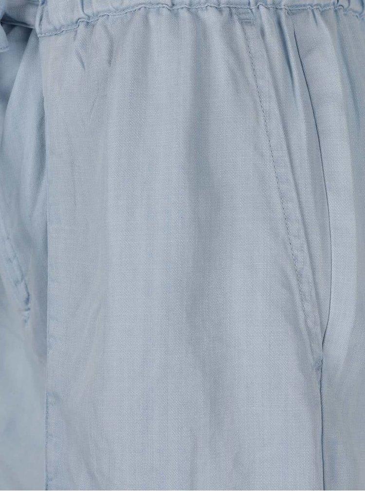 Světle modré kraťasy s vysokým pasem a vázankou VERO MODA Zoe