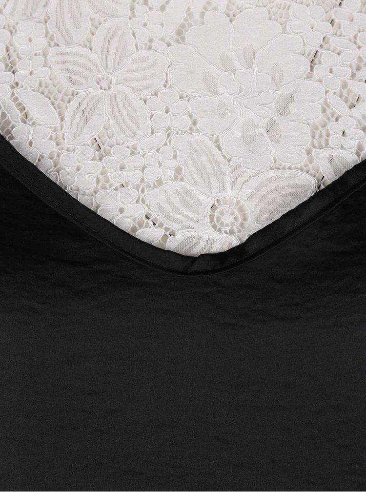 Bluza alba cu dantela si top negru & alb -  Haily's Sare