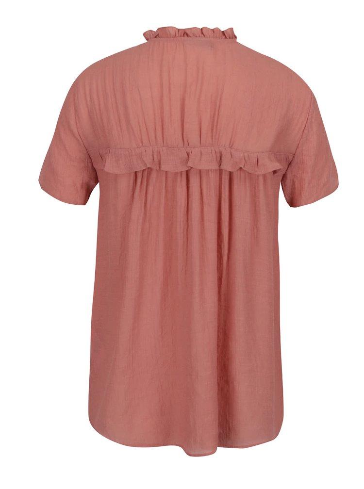Růžová halenka se zavazováním u krku VERO MODA Mandy