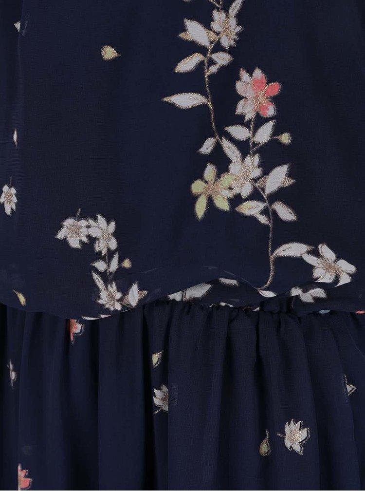 Tmavě modré květované maxišaty VERO MODA Lea