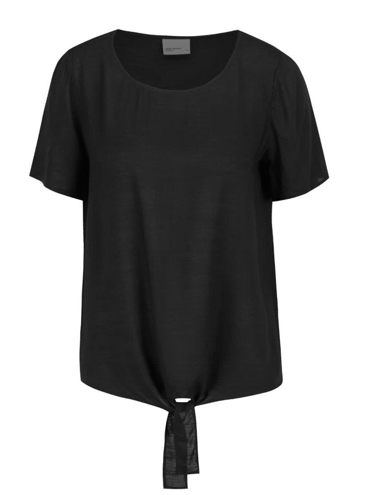 Tricou negru VERO MODA Fay cu nod decorativ