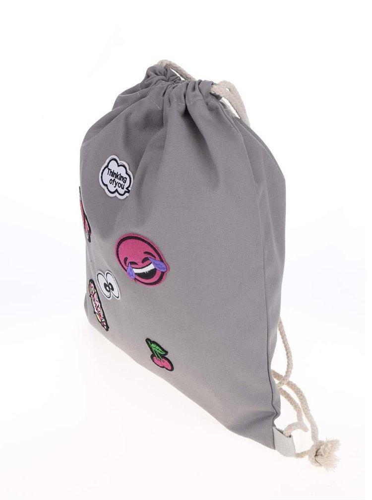 Šedý vak s nášivkami Haily's Bag Patch