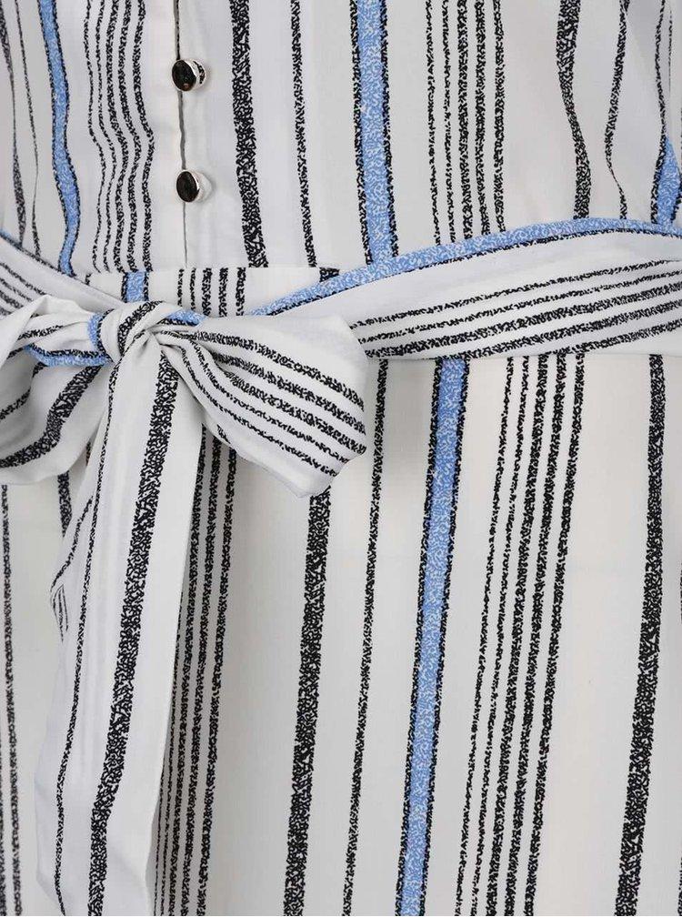 Modro-krémové pruhované maxišaty Mela London
