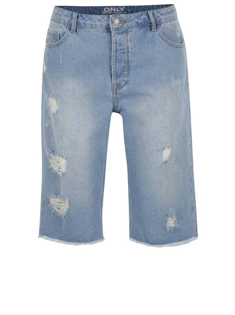 Světle modré volné džínové kraťasy s potrhaným efektem ONLY Petra