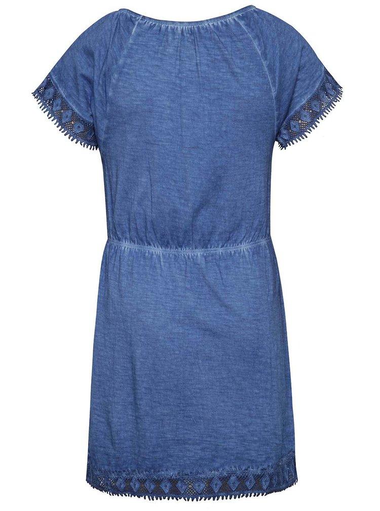 Tmavě modré holčičí šaty s krajkovým lemováním Blue Seven