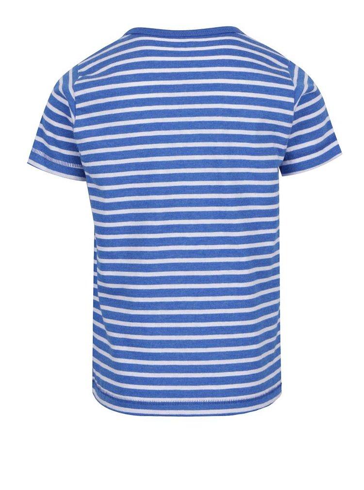 Modré klučičí pruhované triko s potiskem raka name it Flem