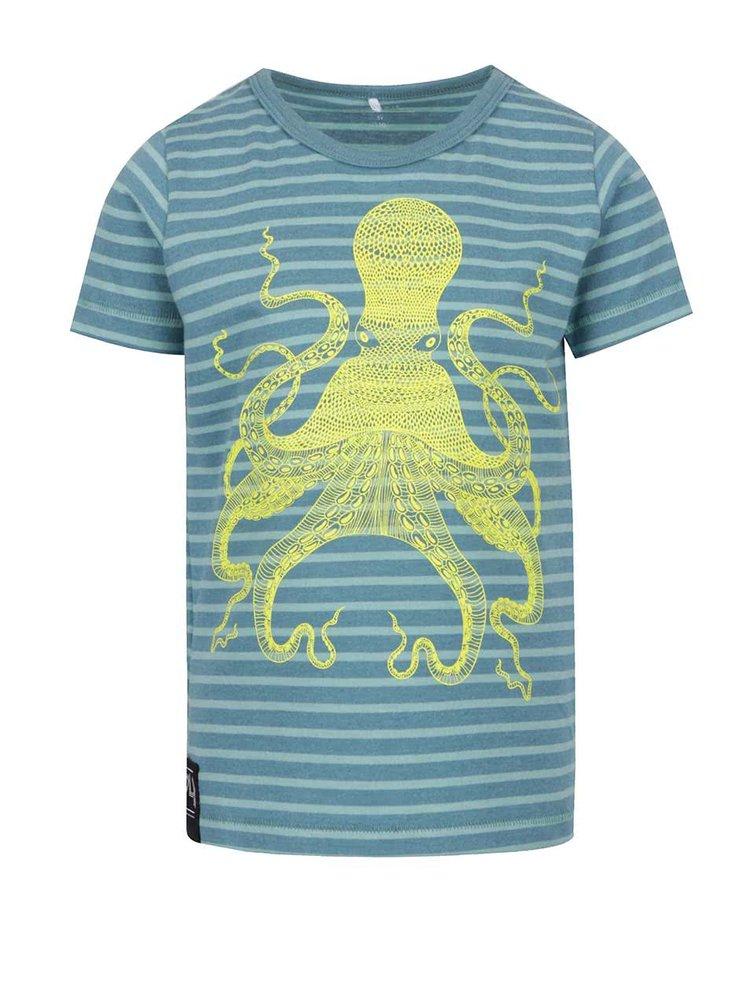 Tyrkysové klučičí pruhované triko s potiskem chobotnice name it Flem