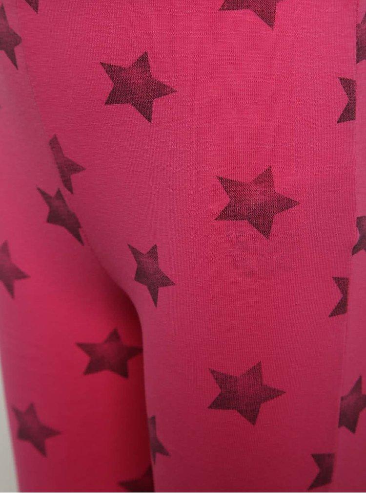 Růžové holčičí 3/4 legíny s motivem hvězd Blue Seven
