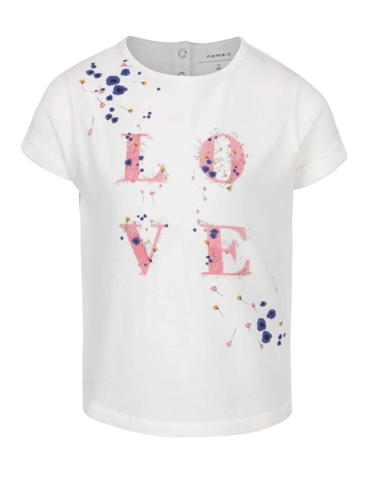 Krémové holčičí tričko s potiskem name it Tisla