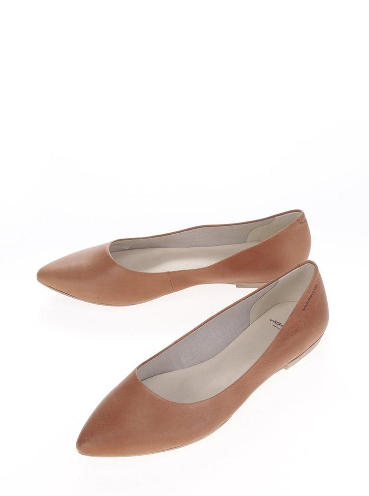 Hnědé kožené baleríny Vagabond Aya