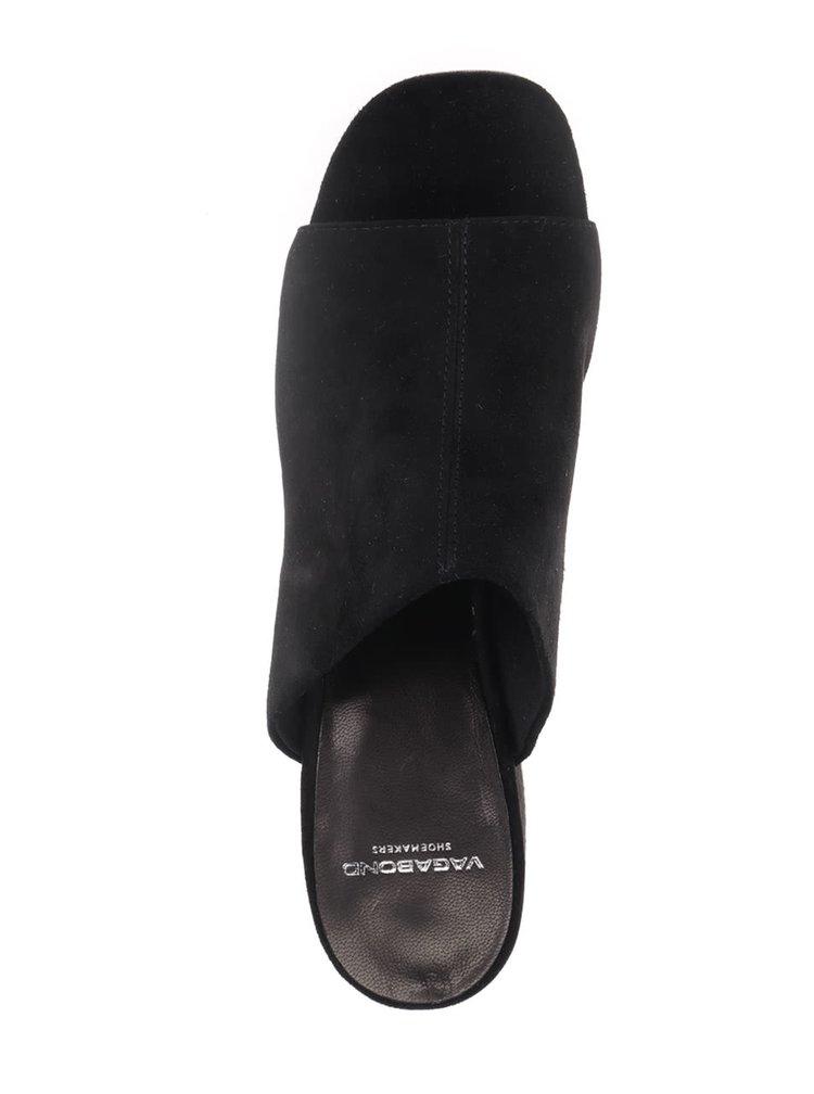 Černé dámské semišové pantofle na  podpatku Vagabond Saide