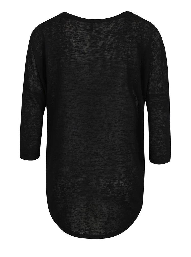 Černé volné tričko s 3/4 rukávem ONLY Camilla