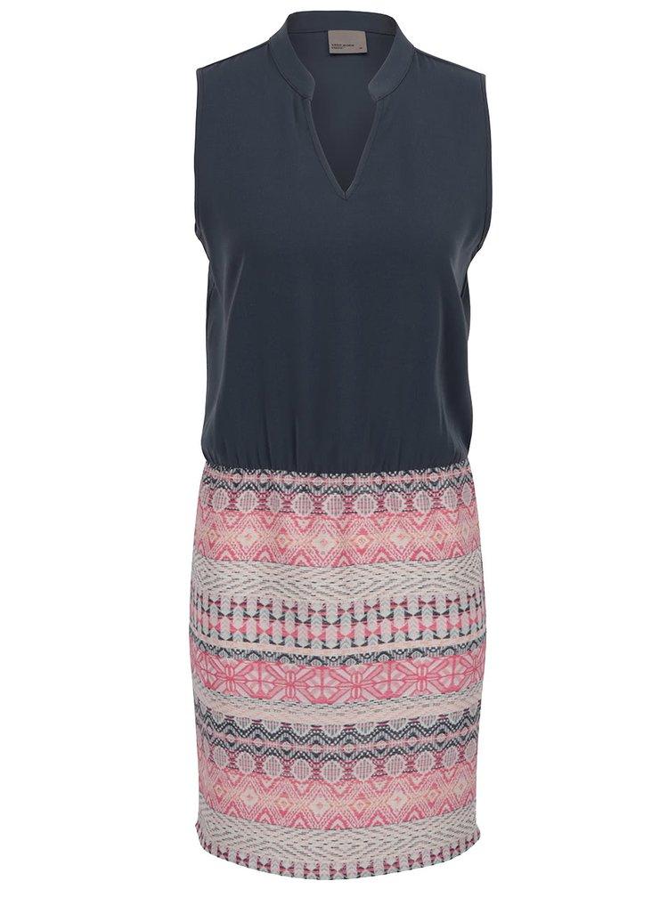 Šedé šaty bez rukávů s barevnou sukní VERO MODA Trio-Blingy