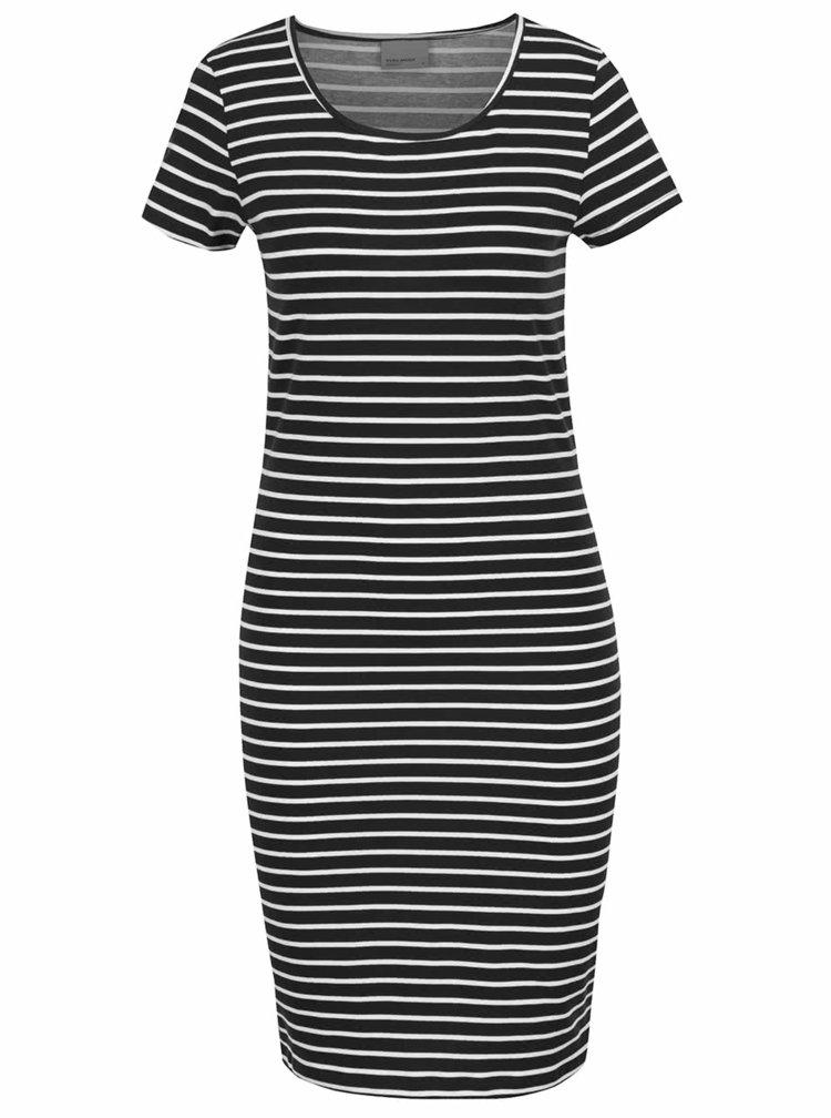 Bílo-černé pruhované šaty VERO MODA Jacinta