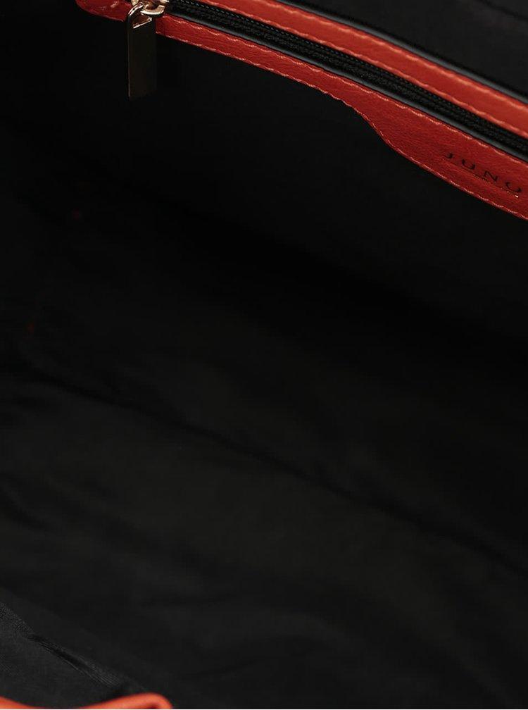 Červená kabelka s detaily ve zlaté barvě Juno