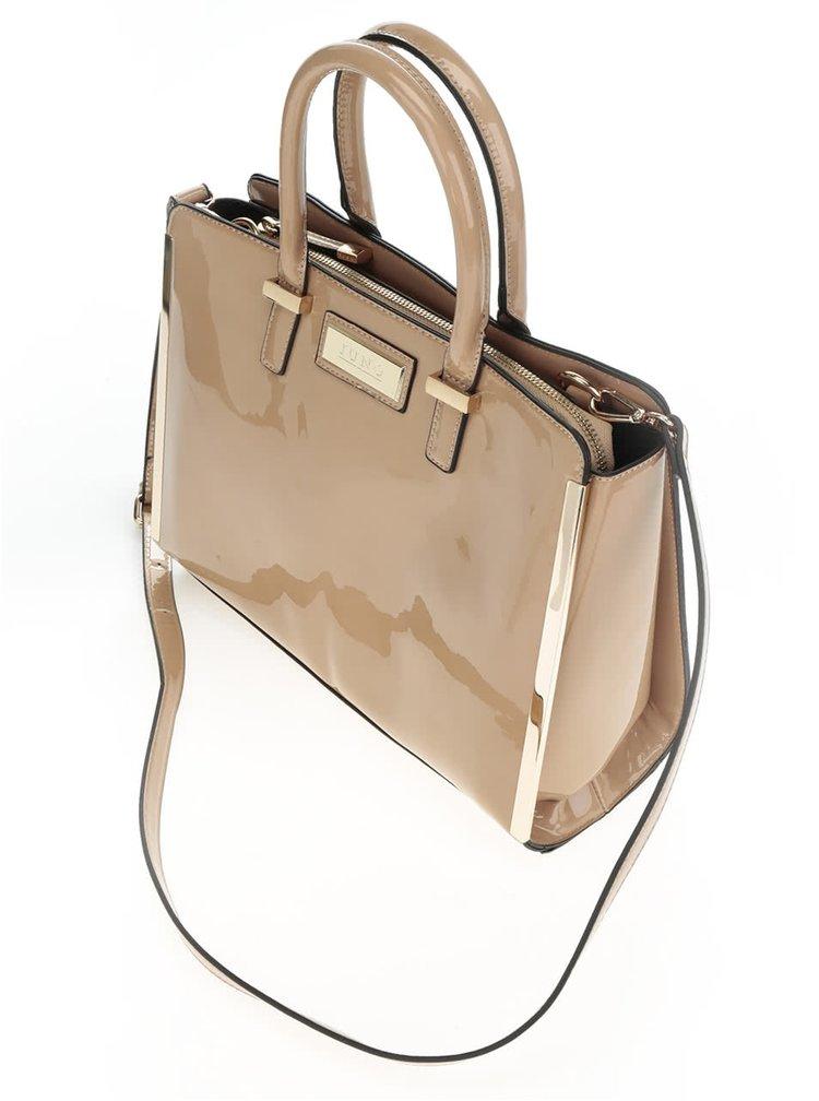 Béžová lesklá kabelka s detaily ve zlaté barvě Juno