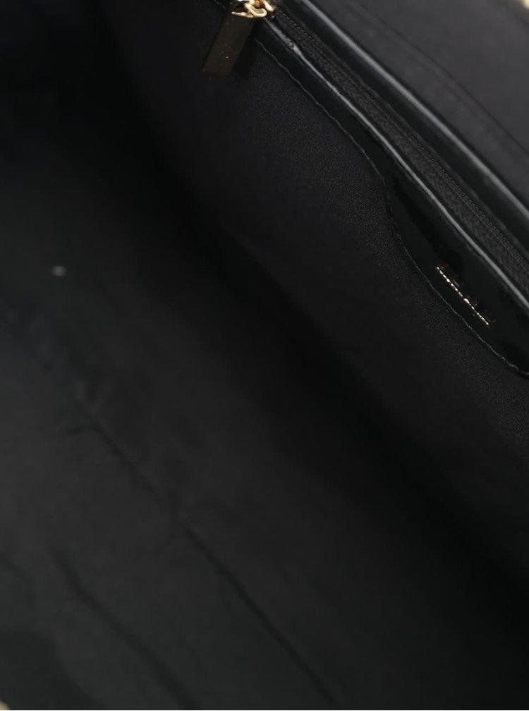 Černá kabelka s hadím vzorem a lesklými detaily Juno