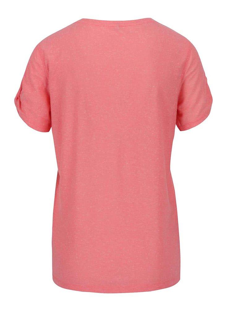 Růžové žíhané tričko s potiskem a průstřihy na rukávech ONLY Rada