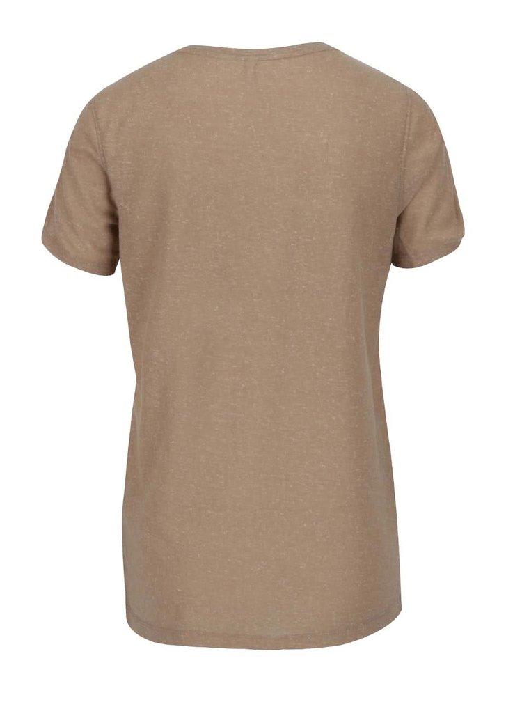 Světle hnědé žíhané tričko s potiskem a průstřihy na rukávech ONLY Rada