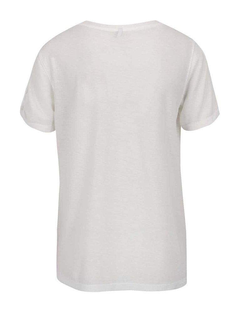 Krémové tričko s potiskem a průstřihy na rukávech ONLY Rada