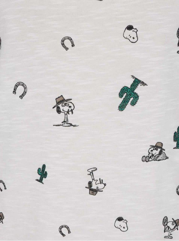 Krémové tričko s potiskem ONLY Peanuts