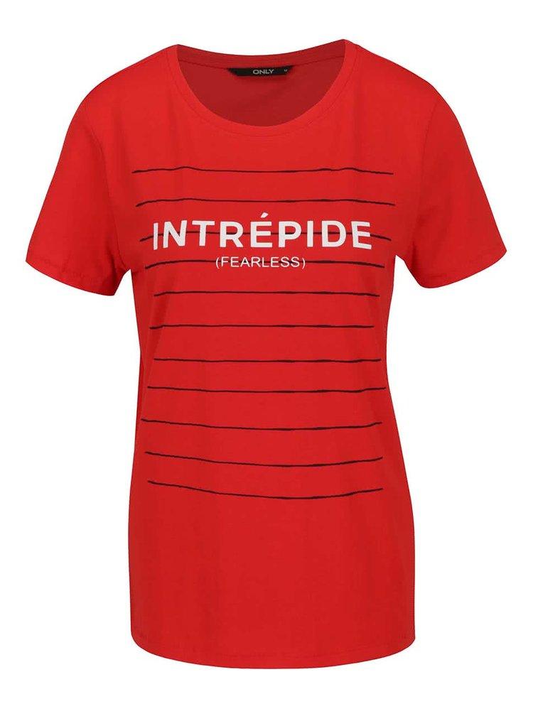 Červené dámské tričko s potiskem ONLY Carrie